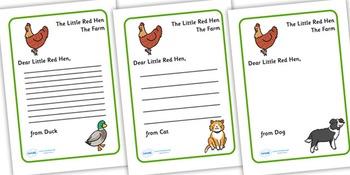 Little Red Hen Letter to Hen
