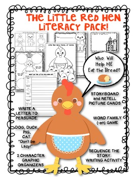 Little Red Hen Literacy Pack: Retelling, Letter Writing, Word Family and More!