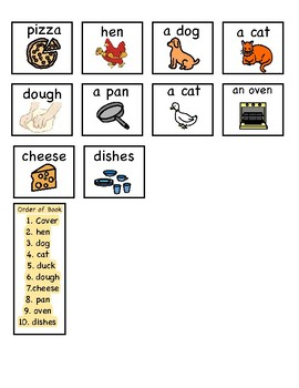 Little Red Hen Makes Pizza (BW Printable, with manipulatives) (Speech, Autism)