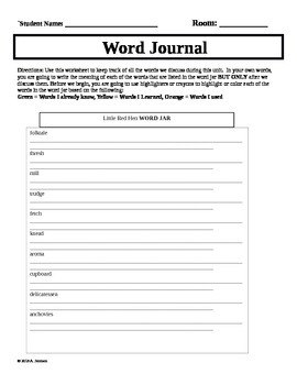 Little Red Hen Word Journal