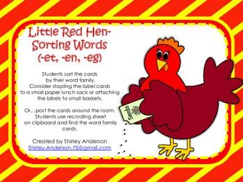 Little Red Hen Word Sort (-et, -en, eg)