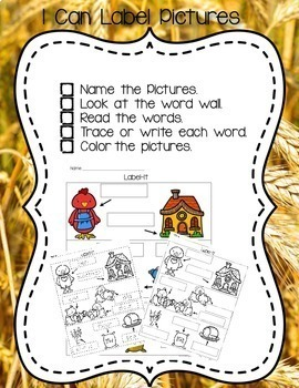 Little Red Hen Writing and Literacy Center Activities