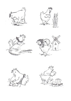 Little Red Hen black and white images.