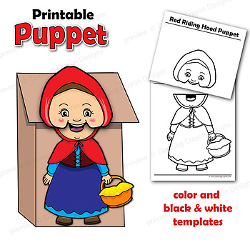 Little Red Riding Hood Craft Activity | Printable Paper Bag Puppets