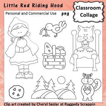Little Red Riding Hood Clip Art line drawings C Seslar