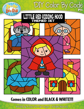Little Red Riding Hood Color By Code Clipart {Zip-A-Dee-Doo-Dah Designs}
