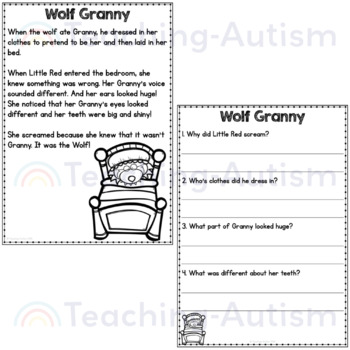 Little Red Riding Hood Reading Comprehension By Teaching Autism