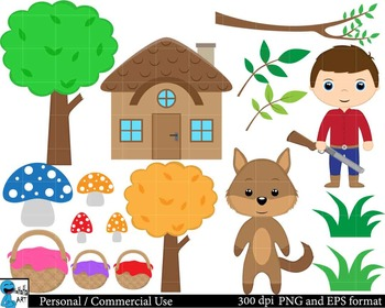 Little Red Riding Hood Digital Clip Art Graphics 40 images cod97