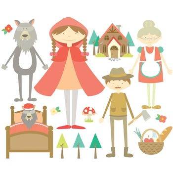 Little Red Riding Hood Digital Clipart & Vector Set - Instant Download