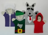 Little Red Riding Hood Felt Hand Puppet Set (Red, Granny, Woodcutter and Wolf)