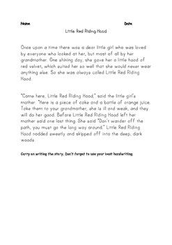 Little Red Riding Hood Handwriting Activity Fairy Tale Fun
