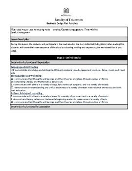 Little Red Riding Hood Lesson Plan
