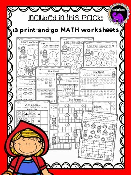 Little Red Riding Hood Math Activity Pack for Kindergarten