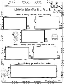 HOTS Reading Response Sheets: Little Red Riding Hood