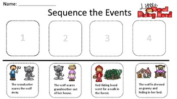 Little Red Riding Hood Story Sequence Worksheets Teaching