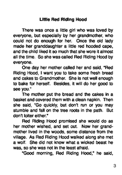 Little Red Riding Hood Story Pdf