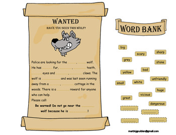 Little Red Riding Hood Wanted Adjective Poster Editable Text and Drag and Drop