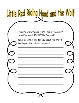 Little Red Riding Hood And The Wolf Roald Dahl Close Reading Questions