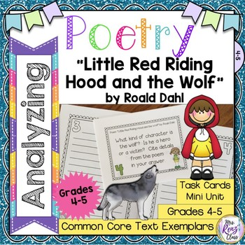 Poetry Task Cards Little Red Riding Hood and the Wolf Roald Dahl Poetry Analysis