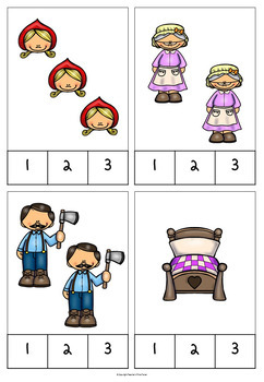 Little Red Riding Hood counting clip cards