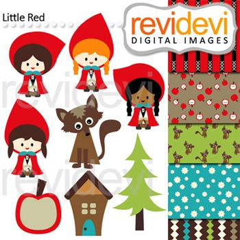 Little Red Riding Hood inspired clip art