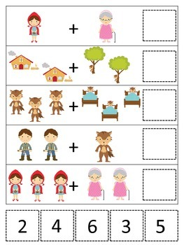 Little Red Riding Hood themed Math Addition preschool printable game.