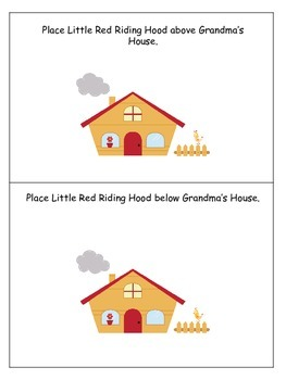 Little Red Riding Hood themed Positional Cards preschool learning activity.