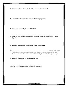 Little Rock Nine - Webquest with Key (Civil Rights Movement)
