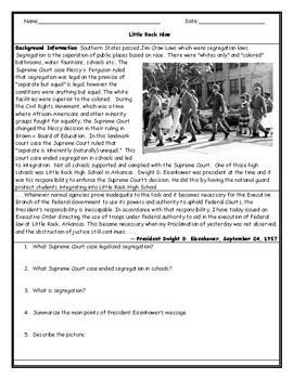 Little Rock Nine Worksheet with Answer Key