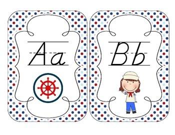 Little Sailors Alphabet Cards: D'Nealian Set