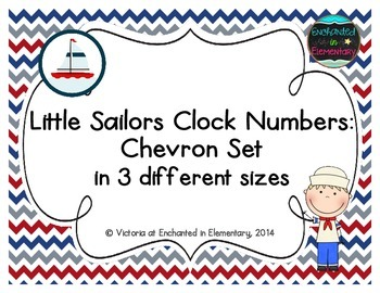 Little Sailors Clock Numbers: Chevron Set