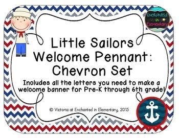 Little Sailors Welcome Pennant: Chevron Set