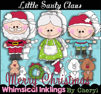 Little Santy Claus Clipart Collection