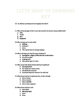 Little Shop of Horrors Quiz and Answer Key Movie 1986
