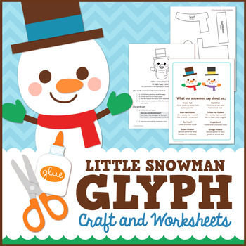 Snowman Math Activity - Glyph Craft with Worksheets