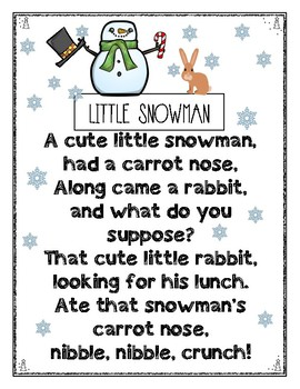 Little Snowman Rhyme For Kindergarten Emergent Readers By