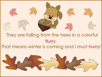 "ESL Resource:""Little Squirrel's Fall Day"" Poem for Early Primary +ELL Newcomers"