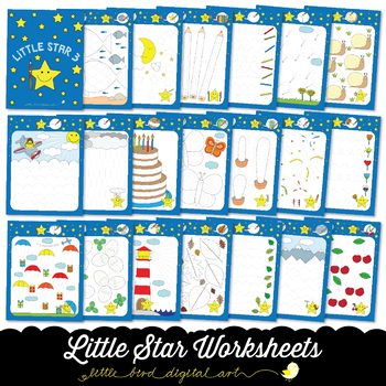 Little Star Worksheets 3 - Tracing Activities - Developing Fine Motor Skills