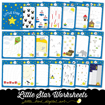 Little Star Worksheets 4 - Tracing Activities - Developing Fine Motor Skills