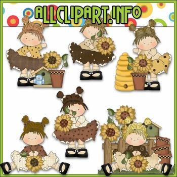 Little Sunflower Beauties Clip Art - Cheryl Seslar Clip Art