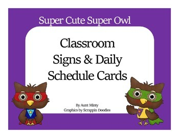 Little Super Owl Daily and Master Schedule Cards with Classroom Labels