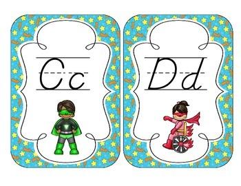 Little Superheroes Alphabet Cards: D'Nealian Set