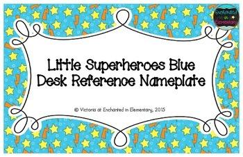 Little Superheroes Blue Desk Reference Nameplates