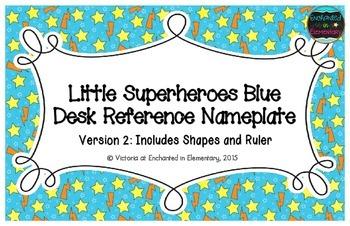 Little Superheroes Blue Desk Reference Nameplates Version 2
