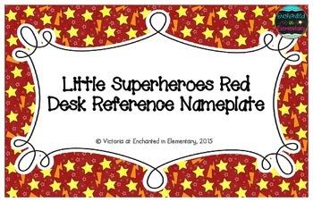 Little Superheroes Red Desk Reference Nameplates