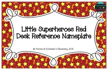 Little Superheroes Red Desk Reference Nameplates