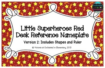 Little Superheroes Red Desk Reference Nameplates Version 2