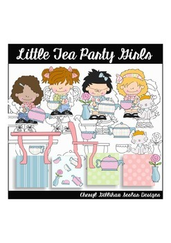 Little Tea Party Girls Clipart Collection