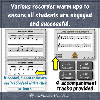Soprano Recorder Song ~ Little Tommy Tiddlemouse Interactive Visuals {Notes EGA}