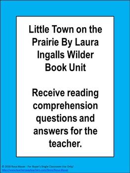 Little Town on the Prairie By Laura Ingalls Wilder Book Unit